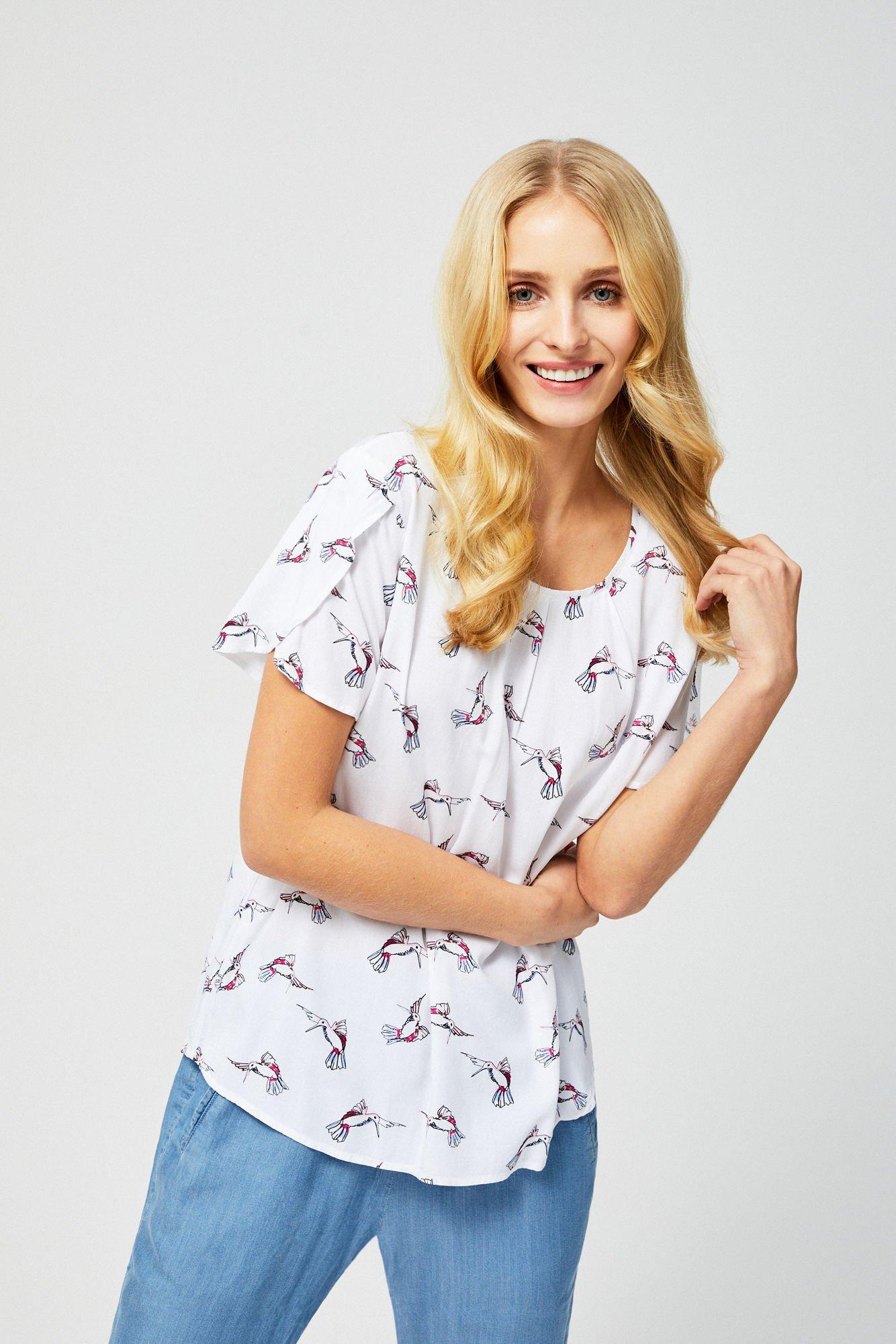 Bluzka koszulowa z motywem ptaków