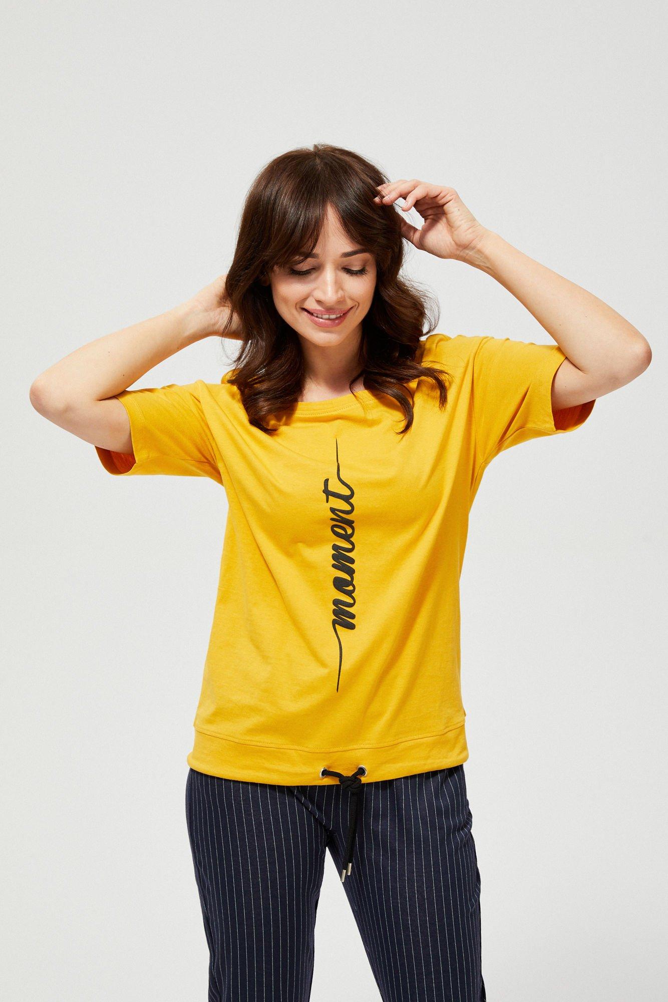 Bawełniana bluzka z napisem