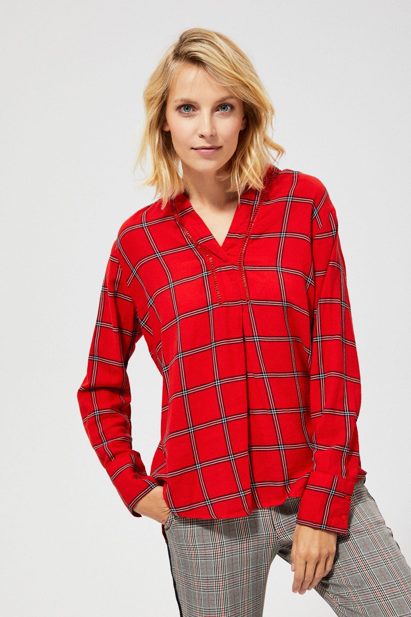 Koszula w kratę z ażurową wstawką