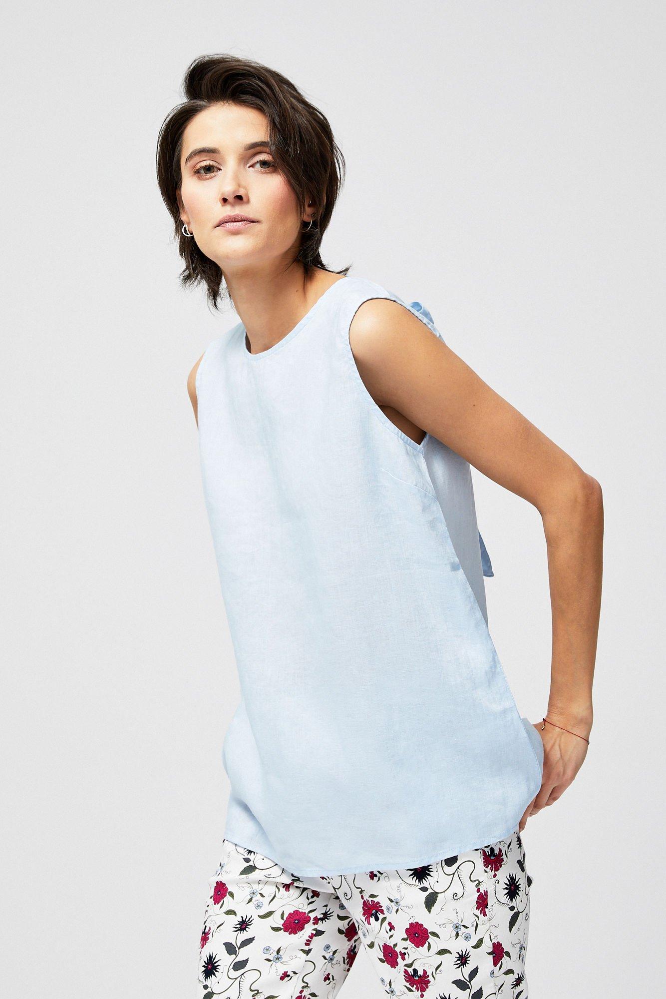 Lniana bluzka bez rękawów