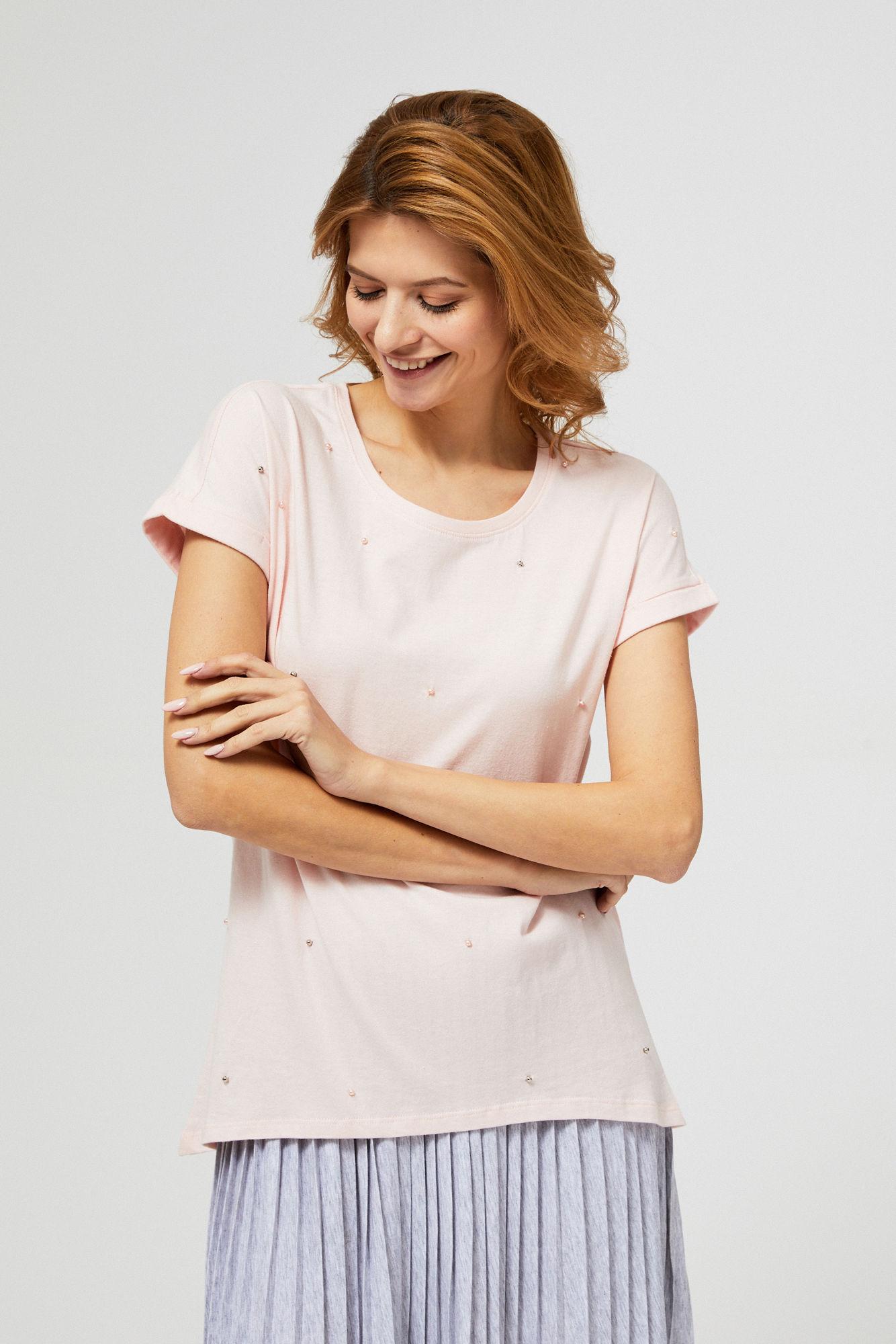 Bluzka bawełniana z perełkami