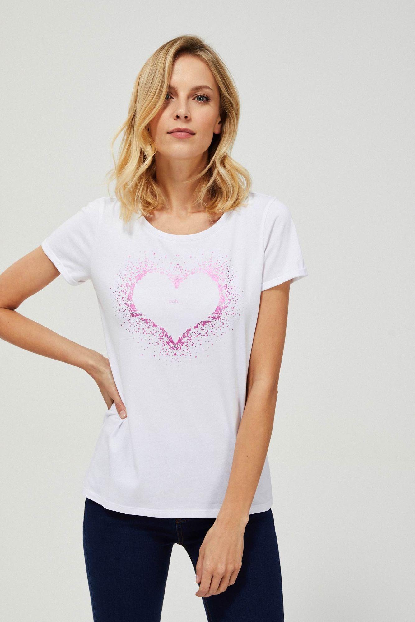T-shirt z nadrukiem serca
