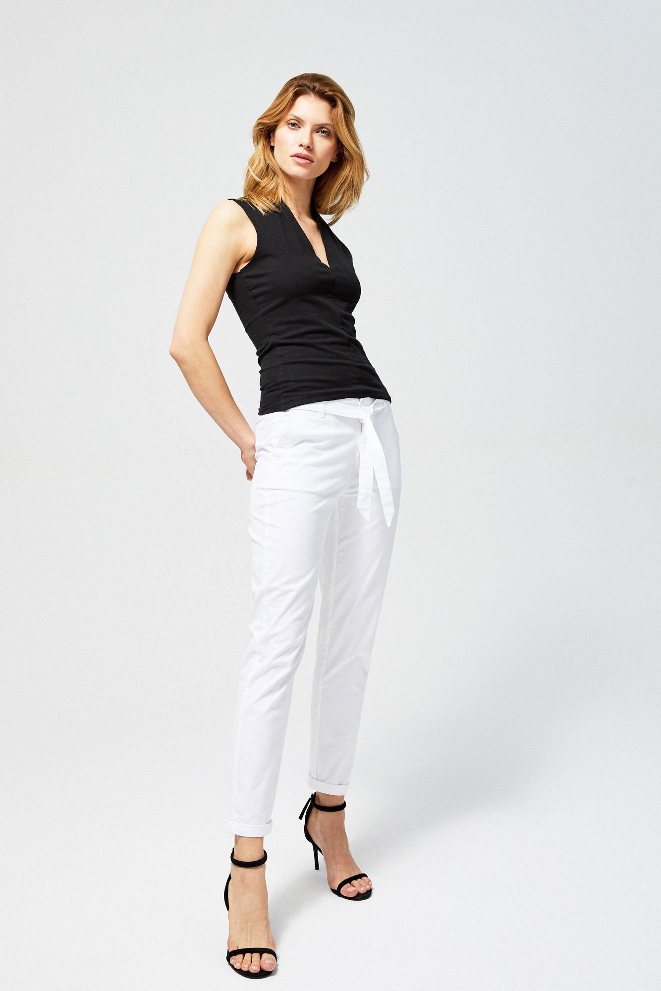 Spodnie bawełniane z wiązaniem