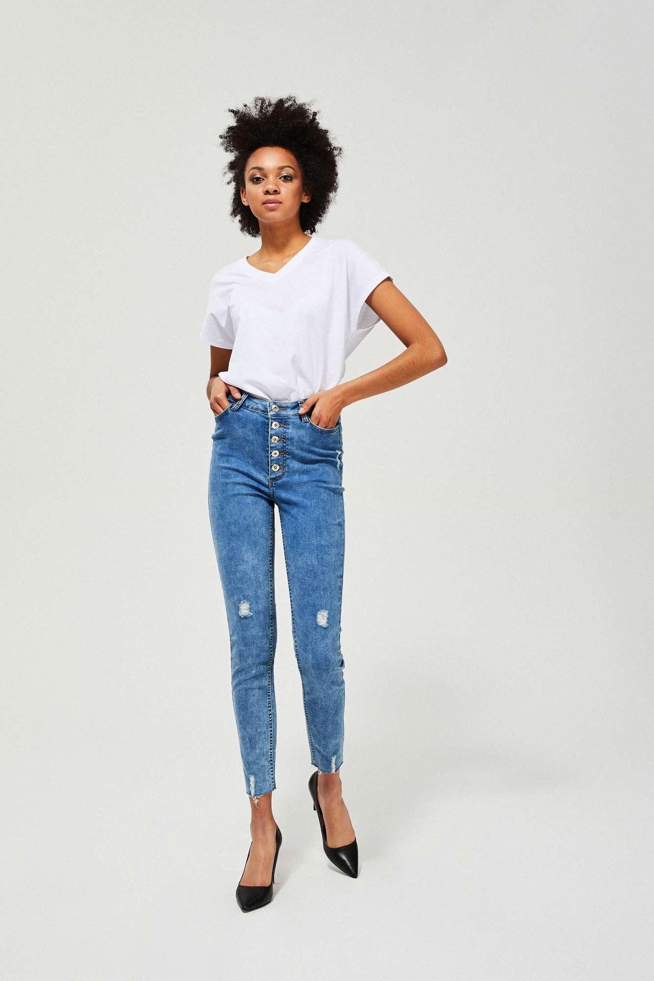 Jeansy skinny z przetarciami