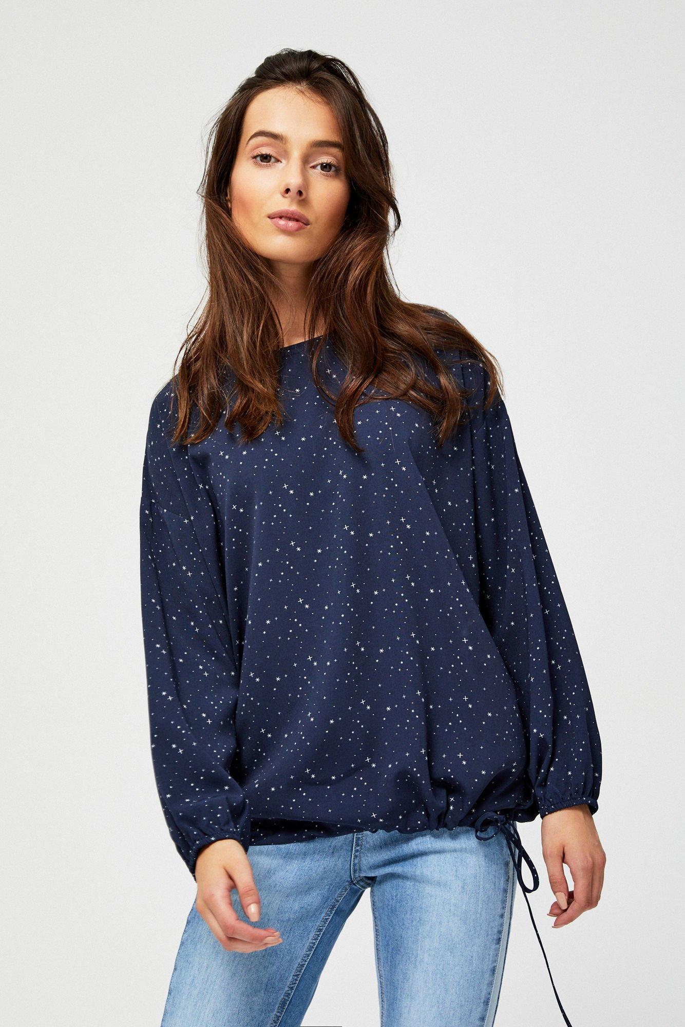 4bcb2e23373045 Bluzka koszulowa ze ściągaczami - | Moodo