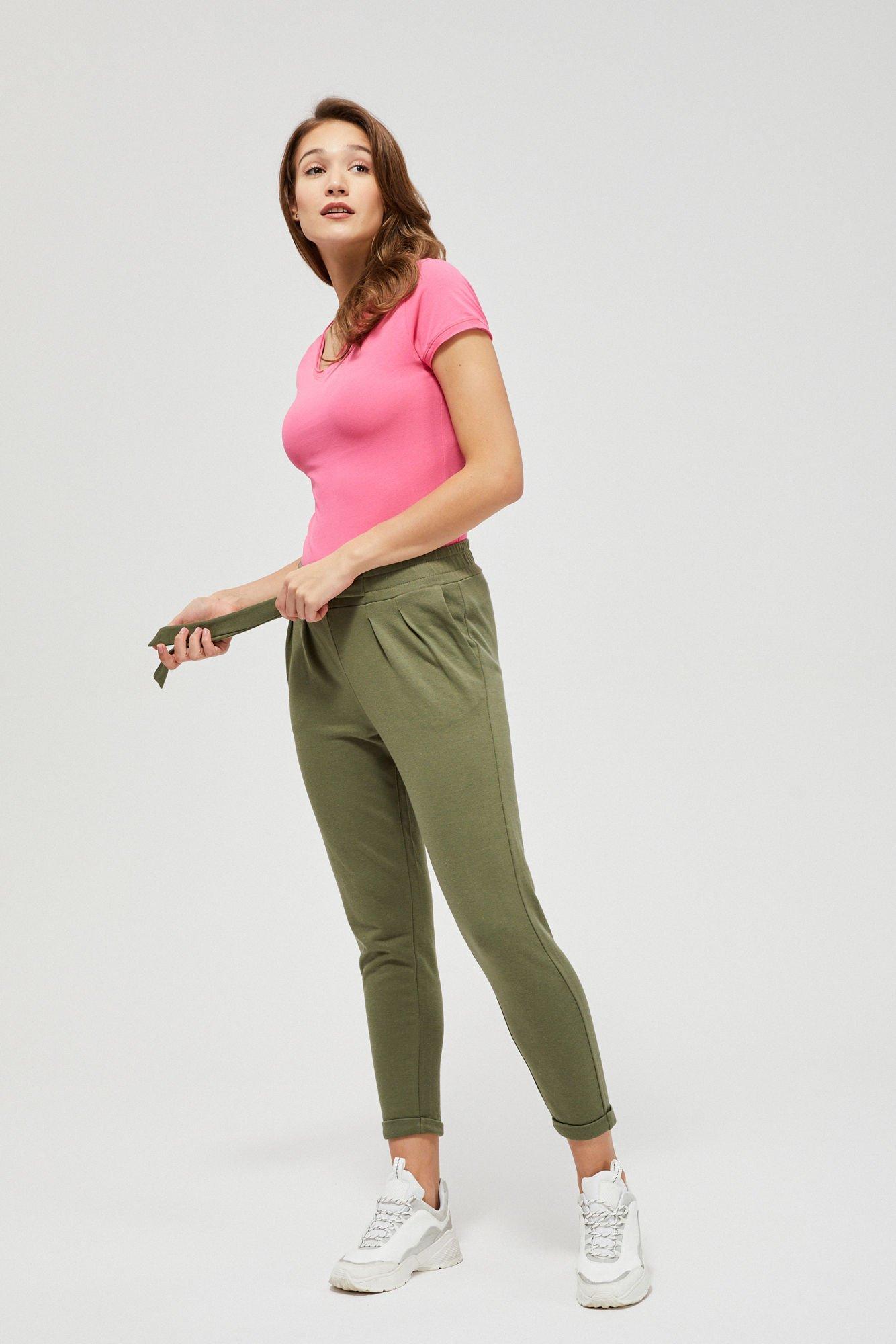 Spodnie dresowe ze ściągaczem oliwkowy