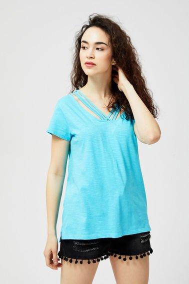 190d9dfed0d1 Bluzka bawełniana z ozdobnym dekoltem