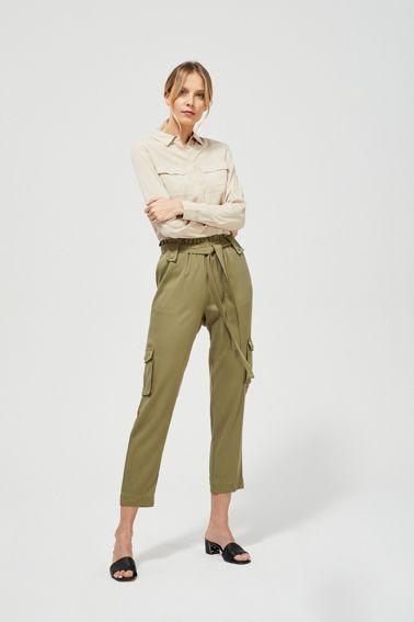Luźne spodnie z wiązaniem w pasie Moodo